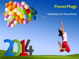 PowerPoint Template - Happy & excited woman